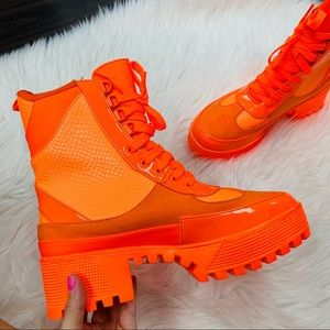 Neon orange combat boot